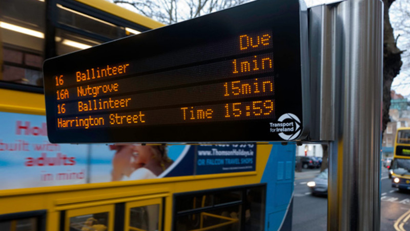 Dublin bus stop display
